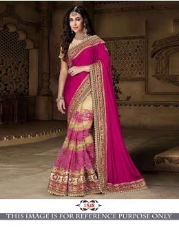 Bollywood Inspired - Karishma Kapoor In Pink & Cream Saree - 1548