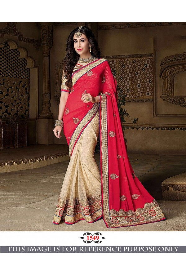 Bollywood Inspired - Karishma Kapoor In Red & Cream Saree - 1549