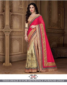 Bollywood Inspired - Karishma Kapoor In Tomato Red & Cream Saree - 1550
