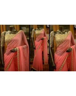 Bollywood Replica - Wedding Wear Pure Georgette Pink Saree  - 1656