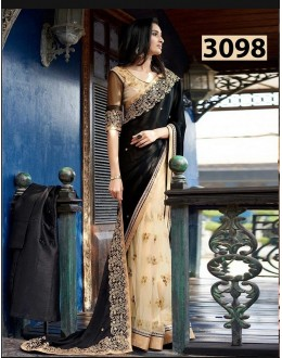 Bollywood Inspired - Party Wear Black & Beige Saree - 3098