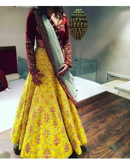 Bollywood Replica - Wedding Wear Yellow Silk Lehenga Choli - 48