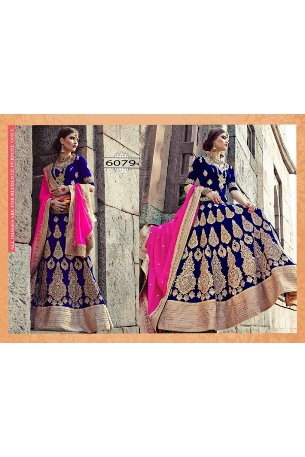 Bollywood Replica - Designer Blue & Golden Velvet Lehenga Choli - 6079