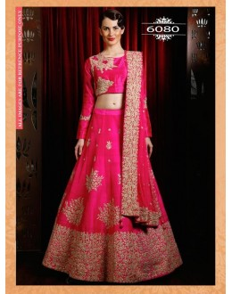 Bollywood Replica - Wedding Wear Pink Slub Silk Lehenga Choli - 6080