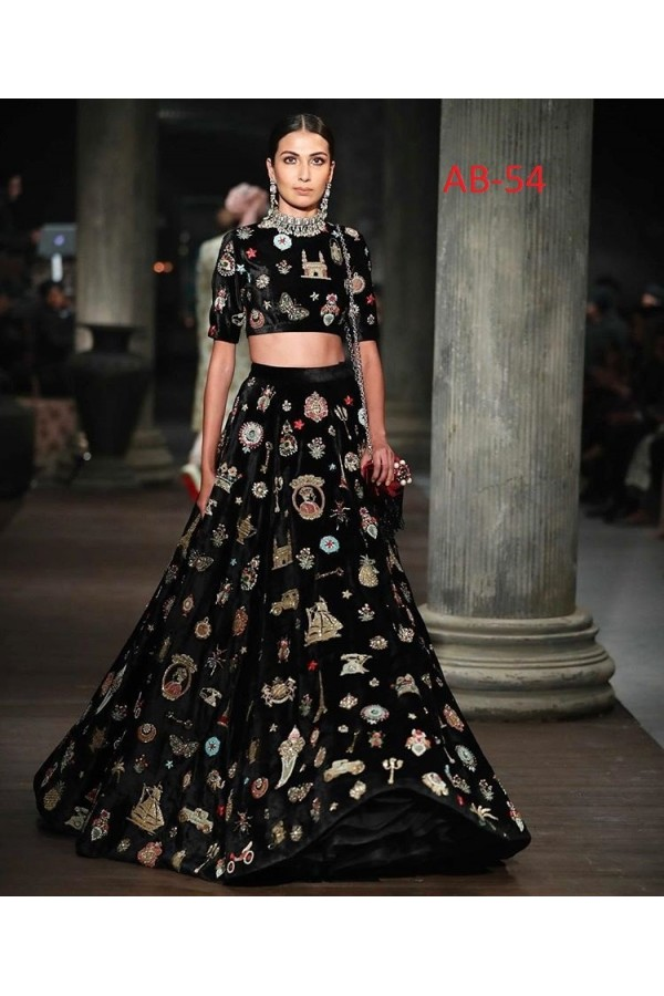 Bollywood Style - Party Wear Black Toys Silk Crop Top Lehenga - AB-54