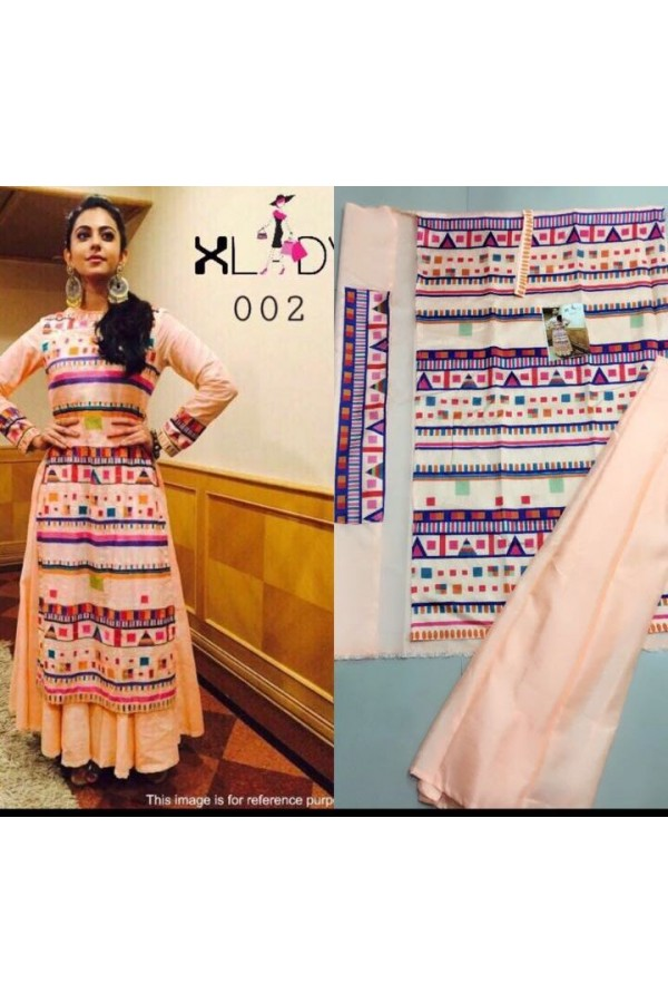 Bollywood Replica - Rakul Preet In Designer Silk Peach Lehenga Suit - Classic002