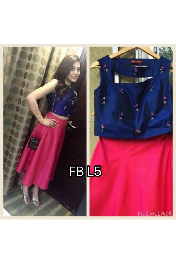 Bollywood Style - Party Wear Pink & Blue Crop Top & Skirt  - FB L5