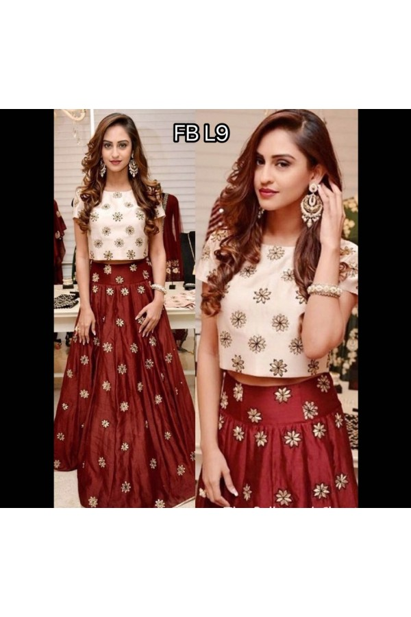 Bollywood Replica - Party Wear Maroon & White Crop Top Lehenga - FB-L9