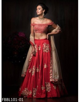 Bollywood Replica - Designer Red Embroidered Silk Lehenga Choli - FBBL101-01
