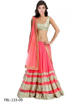 Bollywood Style - Party Wear Pink Net Lehenga Choli- FBL133-09