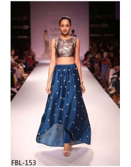 Bollywood Style - Party Wear Blue & Brown Crop Top Lehenga - FBL153-01