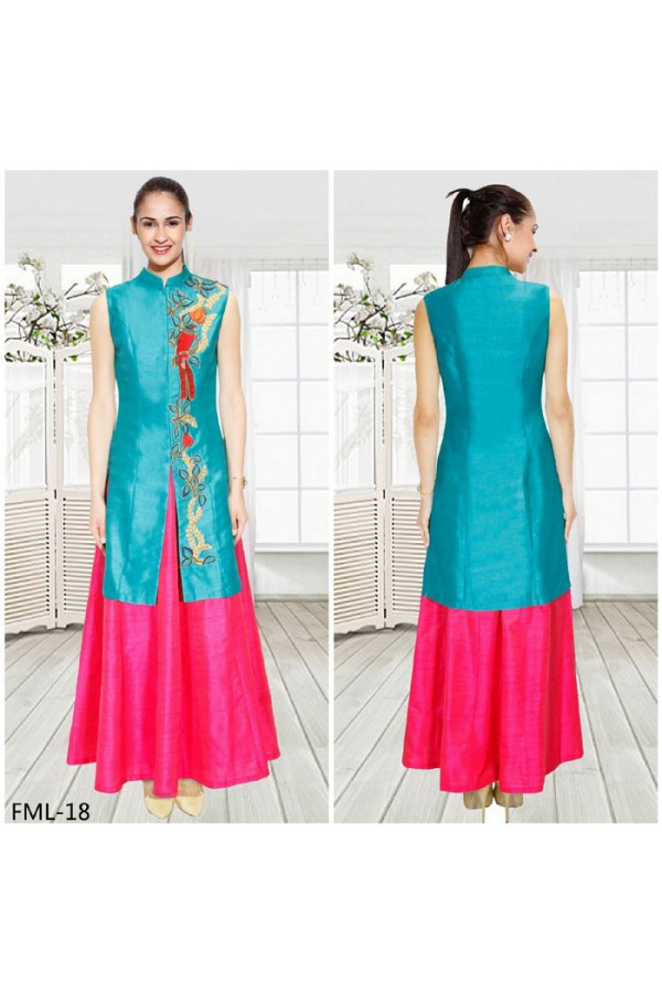 Bollywood Inspired - Party Wear Turquoise & Pink Indo Western Suit - FML-18