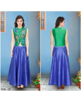 Bollywood Inspired - Designer Green Embroidered Top With Blue Skirt - FML-19