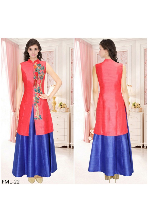 Bollywood Inspired - Red Achkan Jacket With Blue Skirt - FML-22