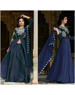 Bollywood Inspired - Party Wear Taffeta Silk Blue Indo Western Suit - FML-23