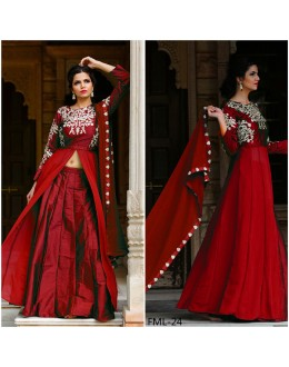 Bollywood Inspired - Party Wear Taffeta Silk Maroon Indo Western Suit - FML-24