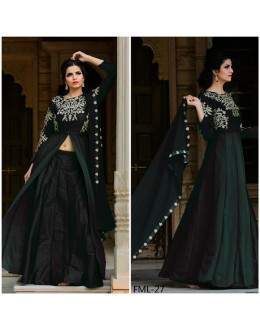 Bollywood Inspired - Designer Taffeta Silk Black Indo Western Suit - FML-27