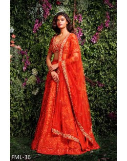 Bollywood Replica - Wedding Wear Orange Net Lehenga Choli - FML-36
