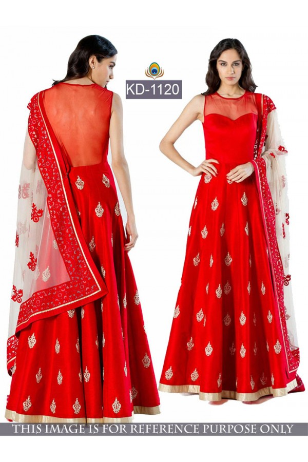 Bollywood Replica - Designer Red Banglori Silk & Net AnarkaliGown - KD-1120