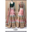 Bollywood Style - Beautiful Peach & Green Embroidered Lehenga Choli- KT-2049