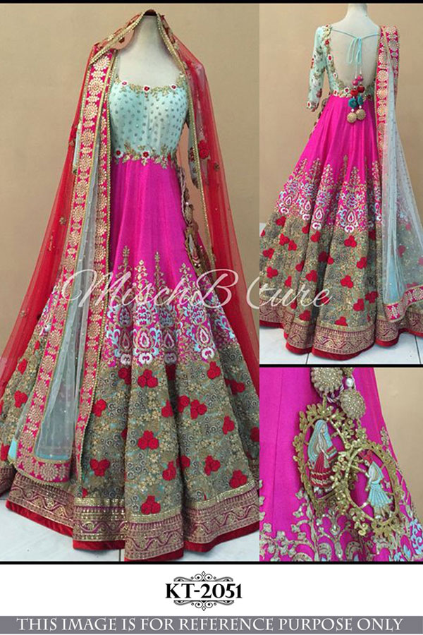 Bollywood Style - Blue & Pink Banglori Silk Long Gown  - KT-2051