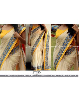 Bollywood Style - Party Wear Cream Nylon Silk Georgette Saree - KT-3167