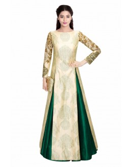 Bollywood Replica - Designer Cream & Green Lehnega Suit - LS01