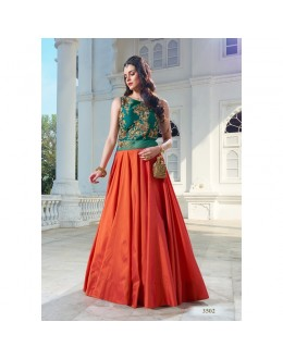 Bollywood Style - Ready To Wear Orange & Rama Green Gown - Liza07