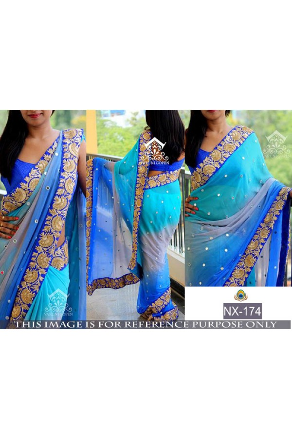 Bollywood Replica - Party Wear Blue Saree - NX-174