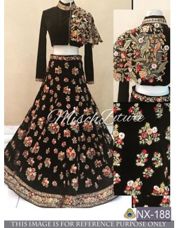 Bollywood Style - Designer Black Embroidered Fancy Lehenga Choli - NX-188