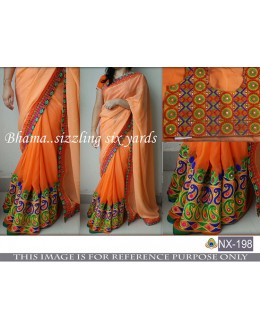 Bollywood Inspired - Party Wear Shaded Orange Saree - NX-198