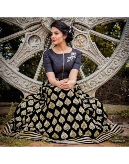 Bollywood Style - Designer Black Embroidered Lehenga Choli - PC01