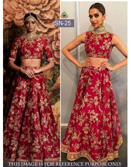 Bollywood Replica - Deepika Padukone In Dark Red Silk Lehenga Choli - SN-25