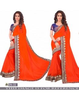 Bollywood Inspired - Party Wear Orange Half-Half Saree  - SN-33