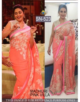 Bollywood Replica - Madhuri Dixit In Designer Peach Saree - SN-523