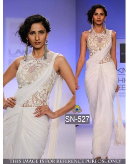 Bollywood Replica - Fancy White Georgette Saree - SN-527
