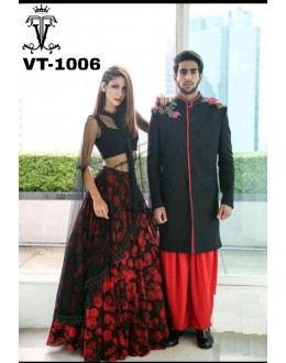 Bollywood Replica - Fancy Red & Black Silk Lehenga Choli - VT-1006