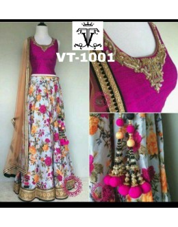 Bollywood Replica - Wedding Wear Pink & White Floral Lehenga Choli - VT-1001