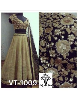 Bollywood Replica - Wedding Wear Beige & Black Lehenga Choli - VT-1009