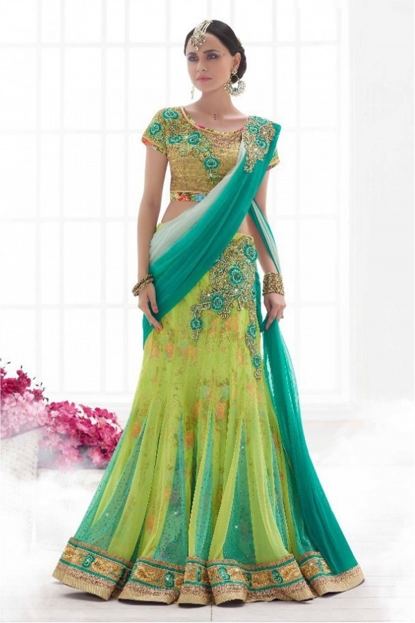 Bollywood Replica - Wedding Wear Lemon Green Net Lehenga Saree - 6052