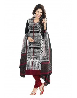 Party Wear Black Cotton Churidar Dress Material - 110