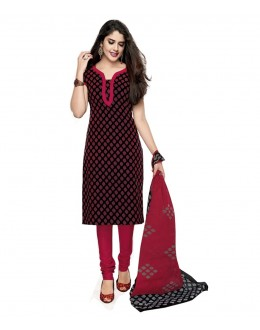 Party Wear Pink & Black Cotton Churidar Suit Dress Material - 115