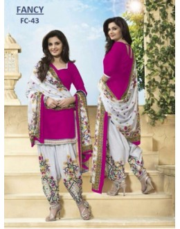 Party Wear Pink Cotton Salwar Suit Dress Material - 113