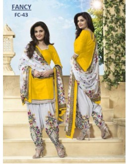 Party Wear Yellow Cotton Salwar Suit Dress Material - 114