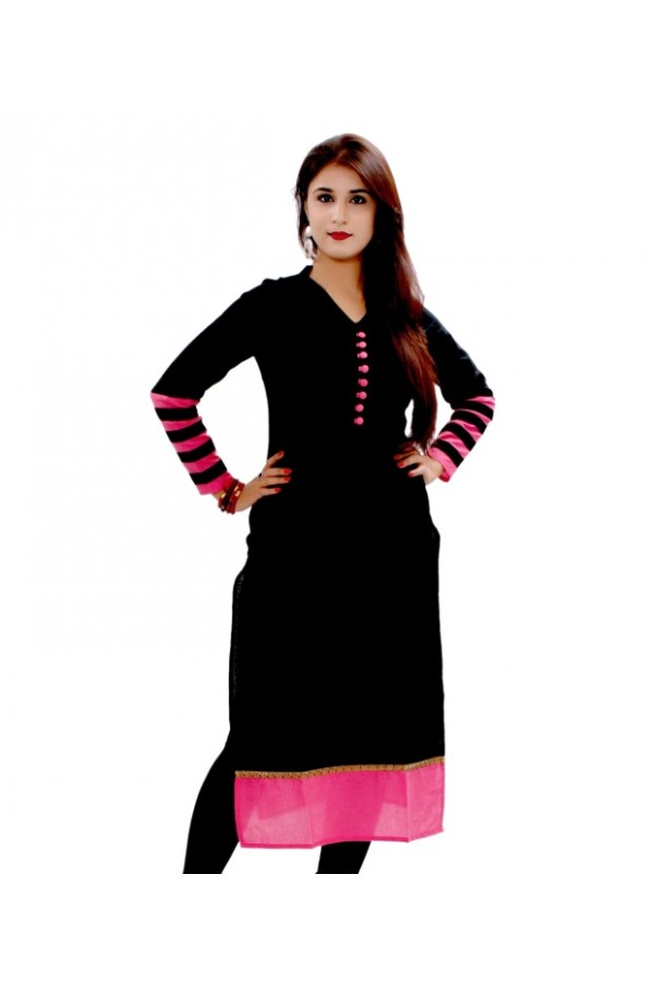 Readymade Pure Cotton Black Kurti - 101