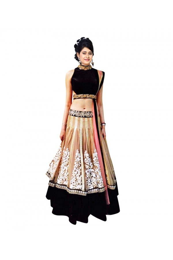 Party Wear Beige & Black Lehenga Choli - 228