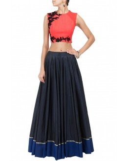 Party Wear Red & Blue Crop Top Lehenga - 239