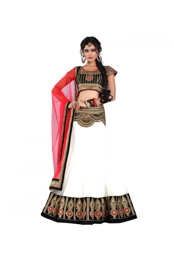 Party Wear White Net Lehenga Choli - 214