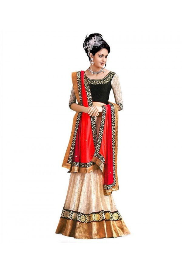 Wedding Wear Beige & Red Net Lehenga Choli - 216