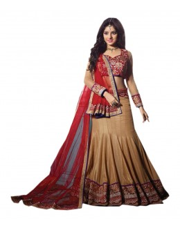 Wedding Wear Beige Embroidered Lehenga Choli - 238